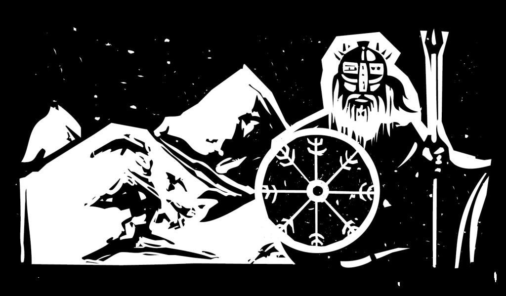 A linocut image of a Norse warrior in a frozen landscape.
