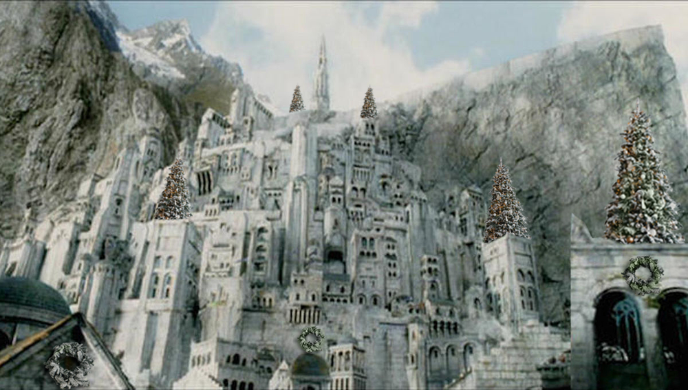 Minas Tirith decorated with Christmas trees and wreaths
