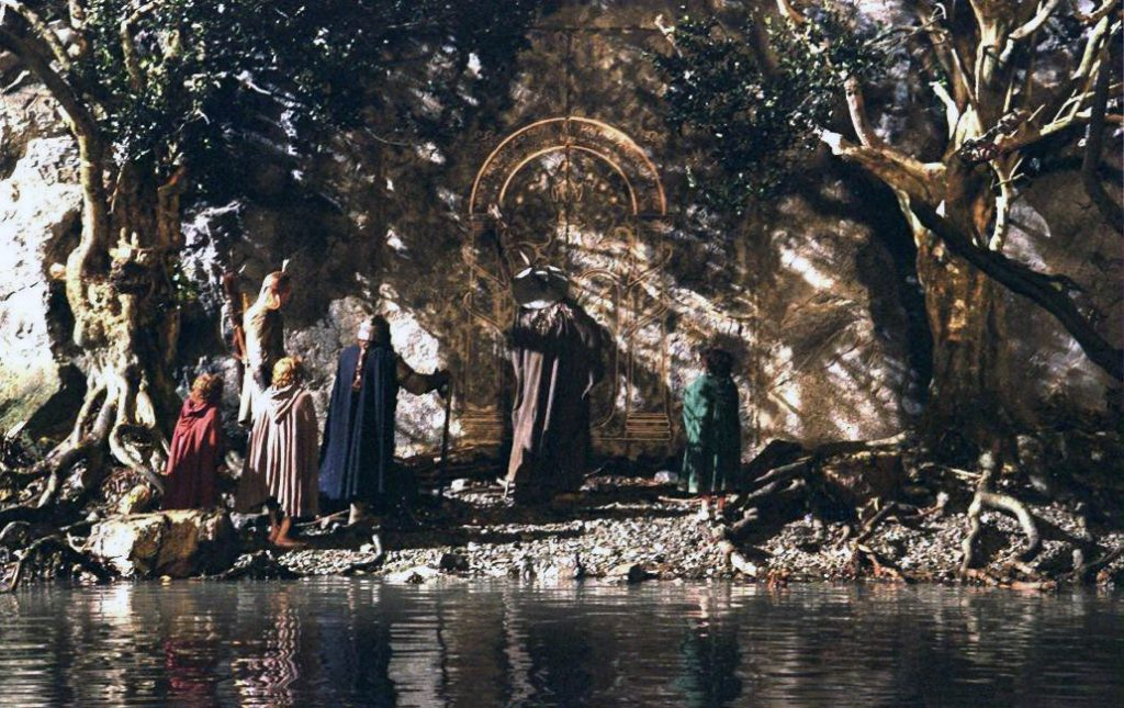 The Fellowship at the doors of Moria, from Peter Jackson's film