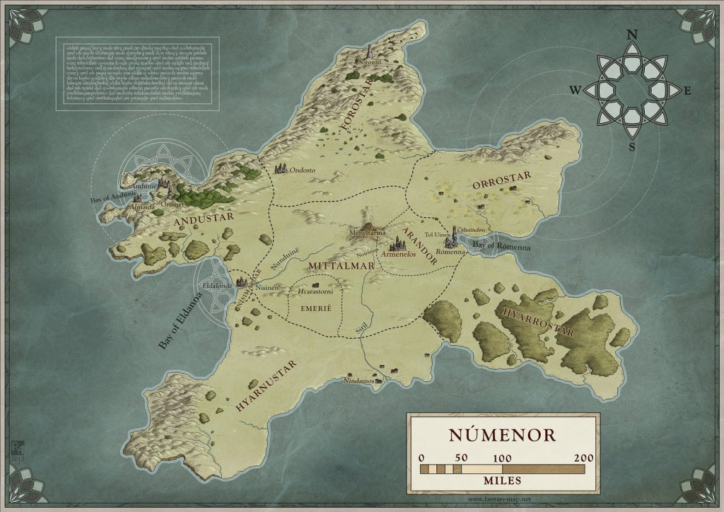 Map of Numenor, by Robert Altbauer