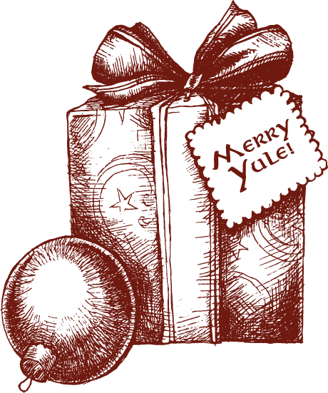 A wrapped present with a tag reading, 'Merry Yule!'