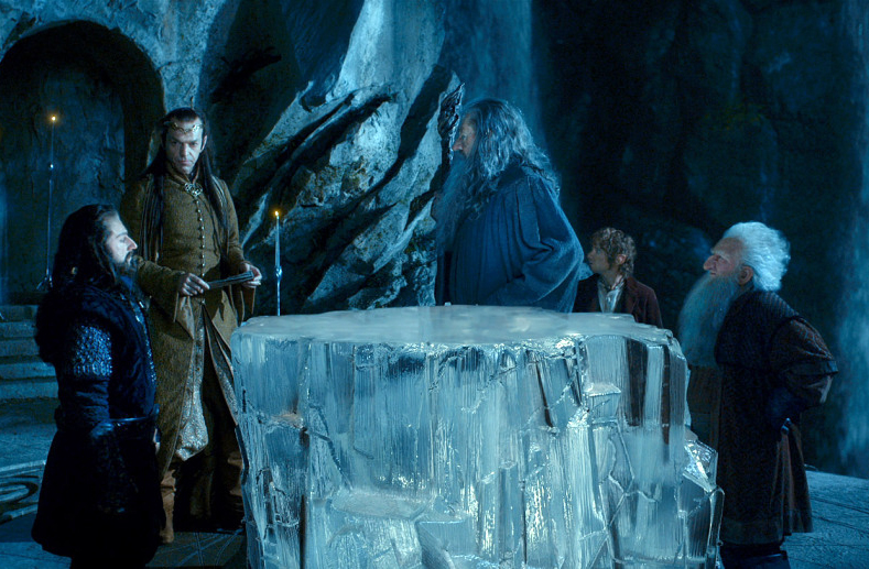 Thorin, Bilbo, Balin and Gandalf gather with Elrond in Rivendell.
