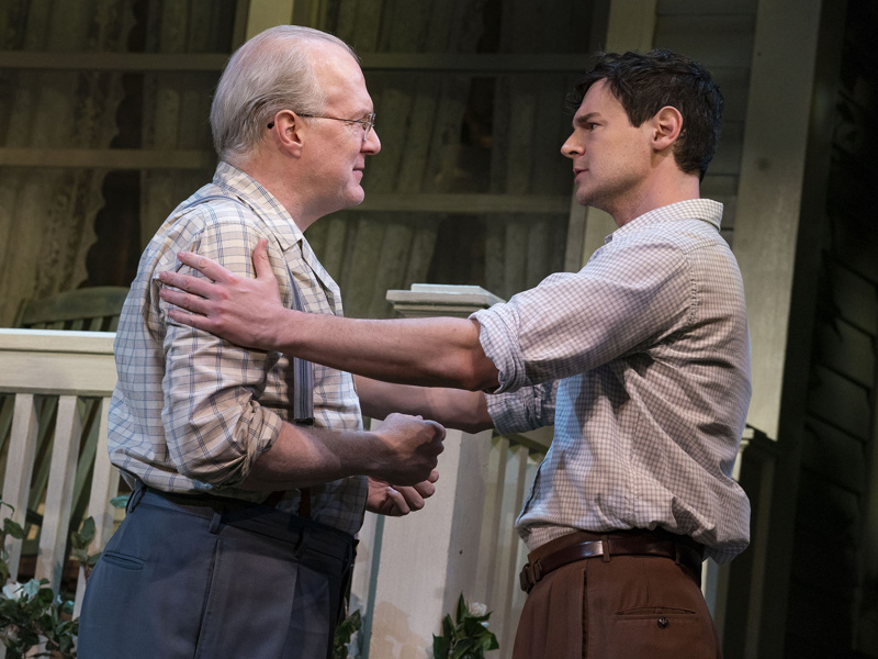 Benjamin Walker on stage as Chris Keller in All My Sons, with actor Tracy Letts