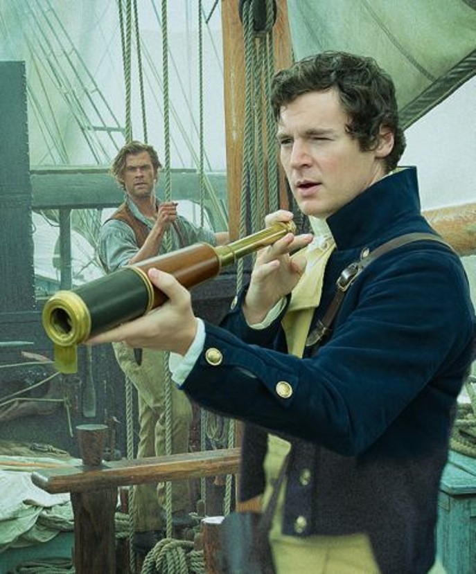 Benjamin Walker as Captain George Pollard in the movie In the Heart of the Sea