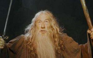 Ian McKellen as Gandalf in Moria