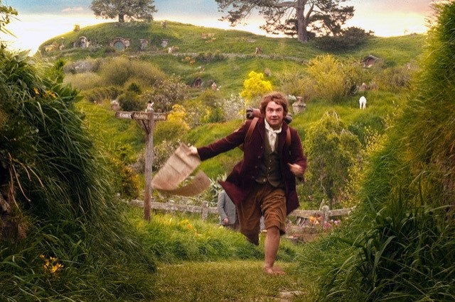 A still from Peter Jackson's first Hobbit movie, showing Martin Freeman as Bilbo, running from the Shire to join the dwarves on an adventure.