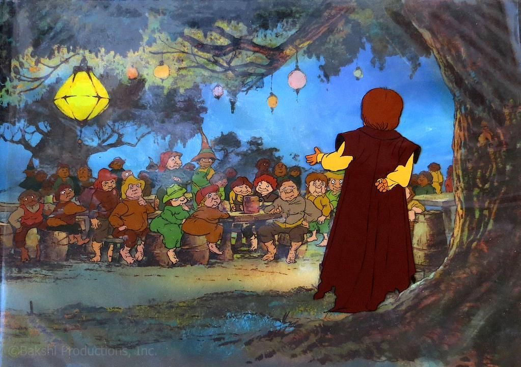 A still from Ralph Bakshi's animated Lord of the Rings film, showing Bilbo giving his birthday speech.