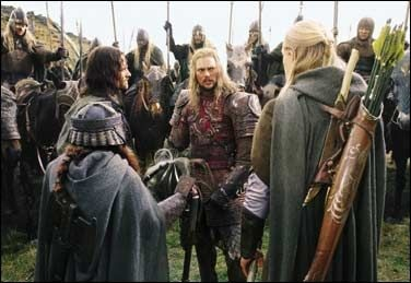 Still from Peter Jackson's The Two Towers, when Aragorn, Gimli and Legolas encounter Eomer and the Riders from Rohan.