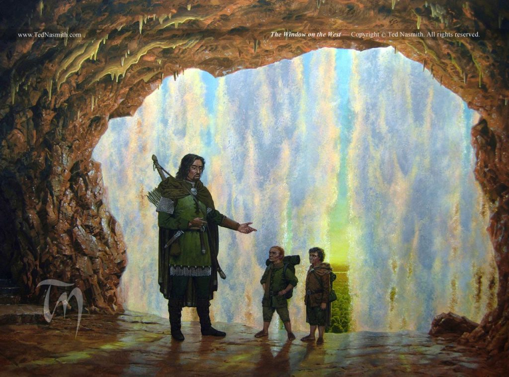 Ted Nasmith's painting of Sam and Frodo with Faramir, at the Window on the West.
