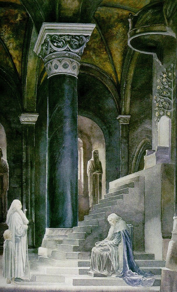 Alan Lee's painting of Gandalf and Pippin, when they meet Denethor in the throne room of Minas Tirith.