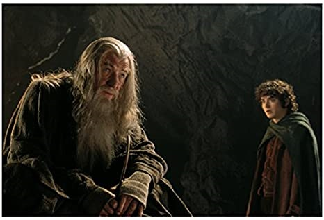 A still from Peter Jackson's Fellowship of the Ring, showing Gandalf and Frodo.
