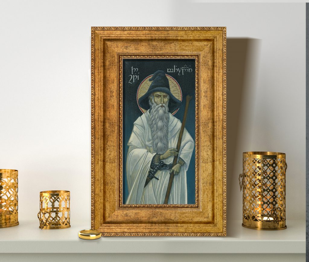 Jay Johnstone's wonderful icon image of Gandalf, displayed in a gold frame.