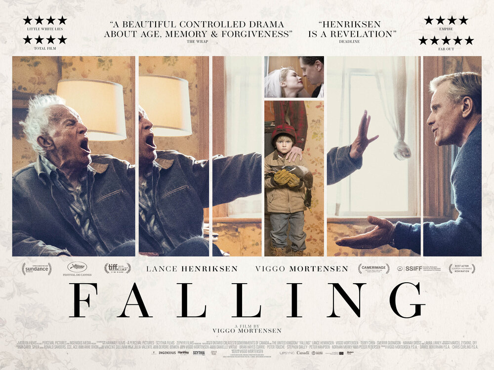 Poster for the movie 'Falling', showing characters played by actors Lance Henriksen and Viggo Mortensen. They seem to be arguing; the image is splintered. We also see a little boy holding a dead duck, with an adult standing behind (only partially seen); and a couple on their wedding day. Reviews give 'Falling' four and five stars.