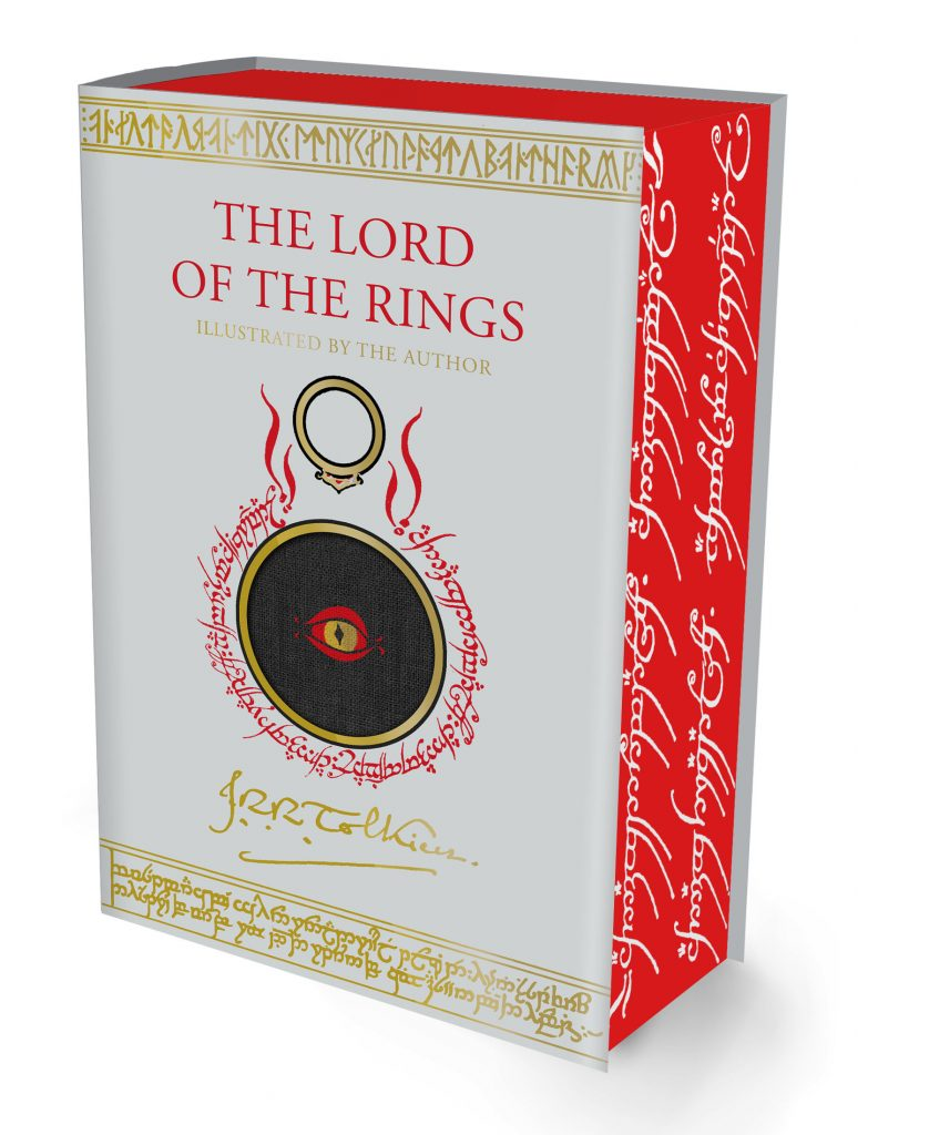 The beautiful upcoming edition of The Lord of the Rings features Tolkien's own artwork. Here we see the cover, with the ring script around the eye of Sauron. The pages of the volume are red, with the ring script printed on them in white.