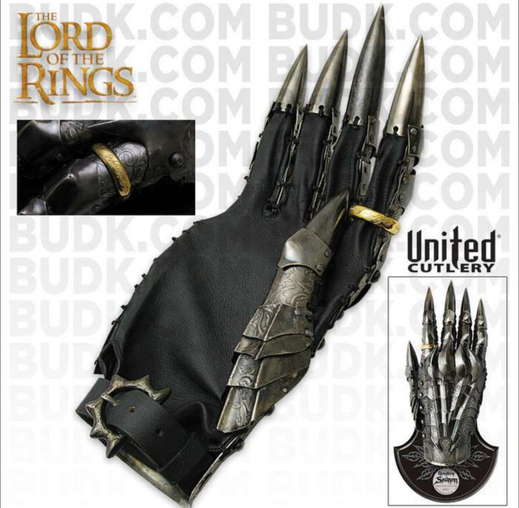 Amazing prop replica of the Gauntlet of Sauron, from United Cutlery - showing the gauntlet on display plaque, and a close up of the gold one ring.