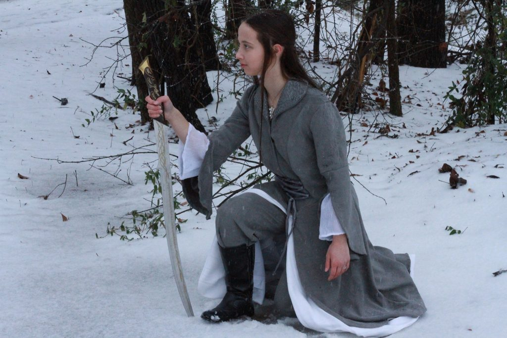 Fan Barbara McCoskey poses in the snow, in her version of Arwen's riding dress (seen when Arwen rescues Frodo in Fellowship of the Ring).