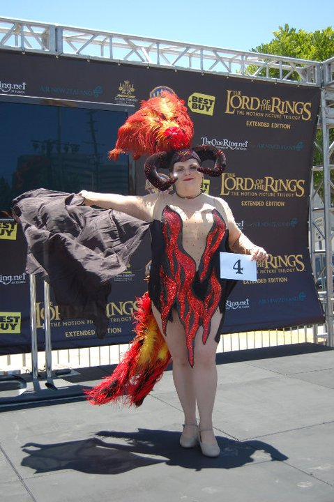 TORn staffer Rasputin created an amazing cosplay as a Balrog showgirl - complete with sparkly costume, and horned headdress with red and orange plumes. And what looks like wings...!
