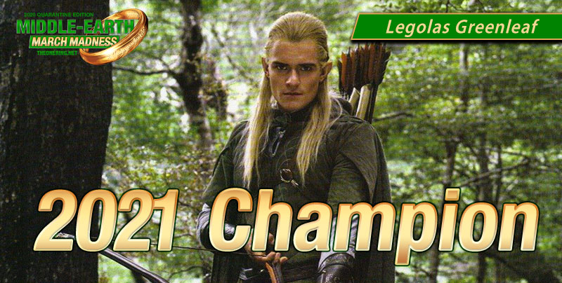 Orlando Bloom as Legolas Greenleaf gazes sternly out of the image - perhaps contemplating his new status as 2021's Middle-earth March Madness champion.