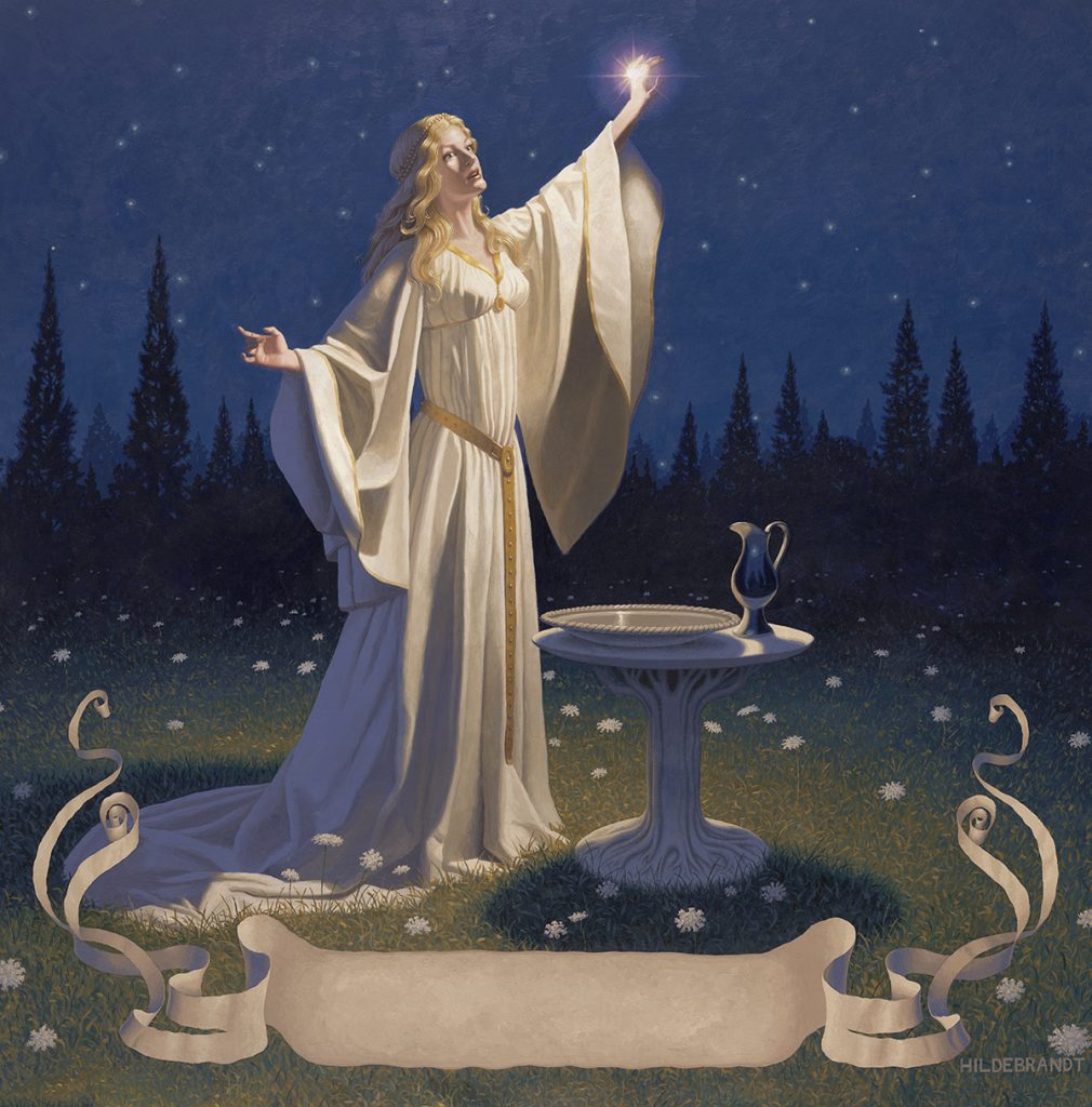 The wonderful painting by the Brothers Hildebrandt, of Galadriel holding Nenya aloft. The ring shines on her hand with a light of its own. It is night, and the dark blue sky behind her is full of stars - which are echoed in the white flowers around her feet. In front of her stand the dish and ewer which serve as her mirror, on a tree shaped pedestal.
