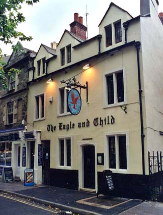 The exterior of the Eagle and Child pub in Oxford.