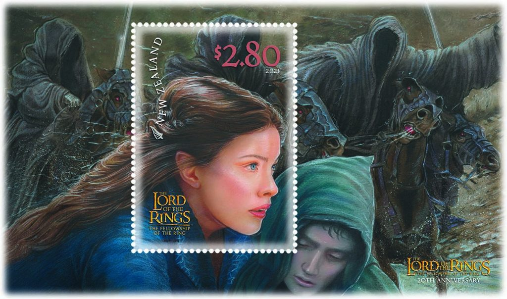 $2.80 stamp: an action packed artist's rendition of Arwen cradling Frodo in her arms, as they flee to the ford, with Black Riders in pursuit.