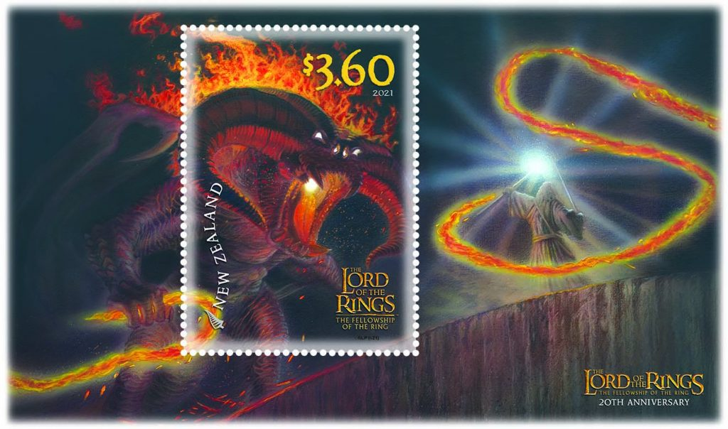 The $3.60 stamp shows Gandalf on the Bridge of Khazad-dum, facing the fearsome Balrog. Gandalf's staff is held aloft, shining with the flame of Anor.