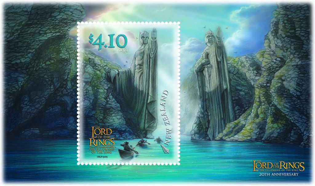 The final stamp, priced $4.10, shows the Argonath, standing tall and magnificent, as the Fellowship approach in three boats, along the river Anduin.